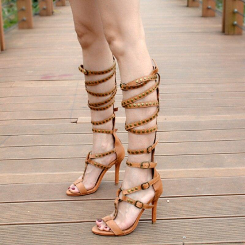 Hauts As Rivet Zip Mode Sandales Genou Picture as Spartiates Picture Talons Bottes Haute Sangle Dames Stiletto Retour Boucle Femmes Longues Chaussures Clouté Été anOHwWn