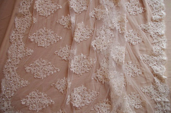 1 yard high quality wedding dress lace fabric for fashion design, ivory bead bridal  lace fabric with pearl and sequins