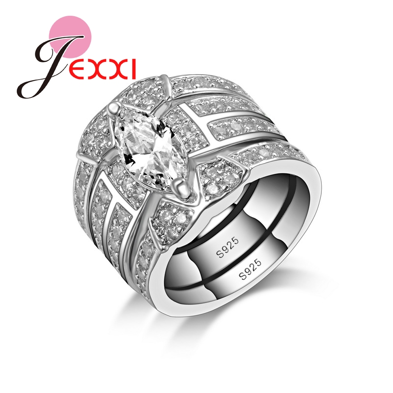 jexxi charming pretty girls party wedding engagement rings sets for women 3 pieces leaf design white - Girl Wedding Rings