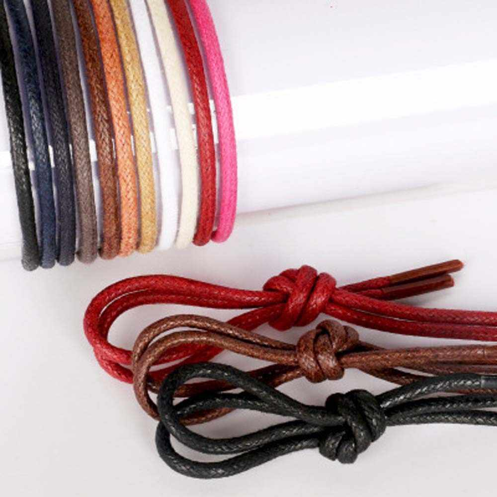 2019 Waxed Coloured Shoelaces Wine Red Fashion For Leather Shoe Laces Round Strings Martin Boots Black Replaceable Lace dropship