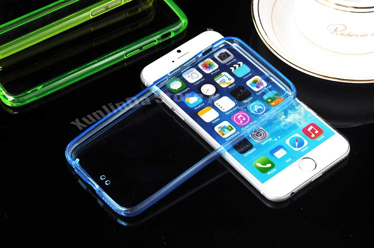 100pcslot Thin 2 in 1 Colorful Transparent Clear TPU Case For iphone 6 4.7 inch Phone Back TPU+PC Hard Cover Via DHL