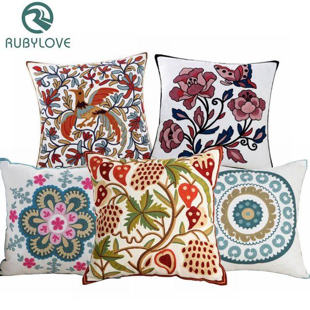 Alta calidad 100% flor bordada de algodón patrón funda de cojín de sofá decoración del hogar regalo de coche almohada cubierta