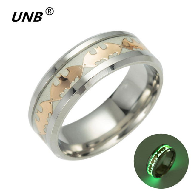 UNB 2017 Retro Luminous Men Ring Stainless Steel Batman Mens Rings