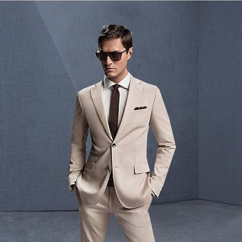 Fashion Two Pieces Beige Men Suit Custom Made Men Wedding Suits New Arrival Prom Party Dinner Suits