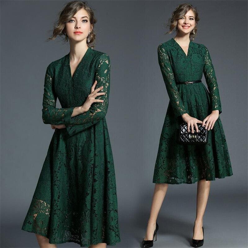 Grande taille 3XL dentelle robe femmes automne printemps 2019 évider col en v Sexy minceur robes décontracté élégant a-ligne Vestidos vert