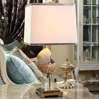 Fashion Mediterranean High 62cm Conch Table Lamp Luxury Crystal Table Lamp For Bedroom Lobby Table Lamp