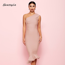 Bandage Dresses Vestidos Ruffles Celebrity Party Dress Women One Shoulder  Bodycon Nightclub Sexy Dress 351103fd9e
