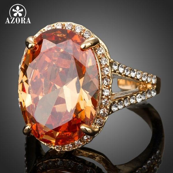AZORA guldfarve stort ægformet kubisk zirconia rundt med - Mode smykker - Foto 2