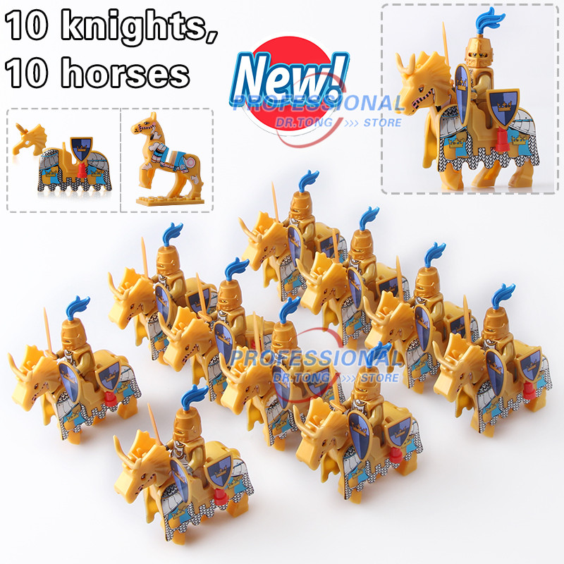 DR.TONG Cattle King Kingdom Medieval Castle Knights with Horse Saddle Figures Classic Building Blocks Bricks Toys for Child Gift