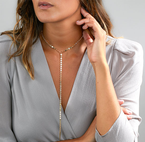docona Simple Style Sequin Long Necklace Silver Gold Pendant Choker Necklace for Women Coin Choker Necklace Minimal Lariat 5092