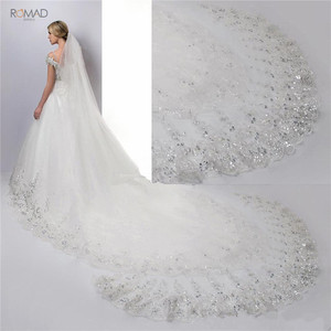Image 5 - Romad 4 Meter White Ivory Cathedral Wedding Veils Lace Bling Sequins Long Bridal Veils With Comb Wedding Accessories W3