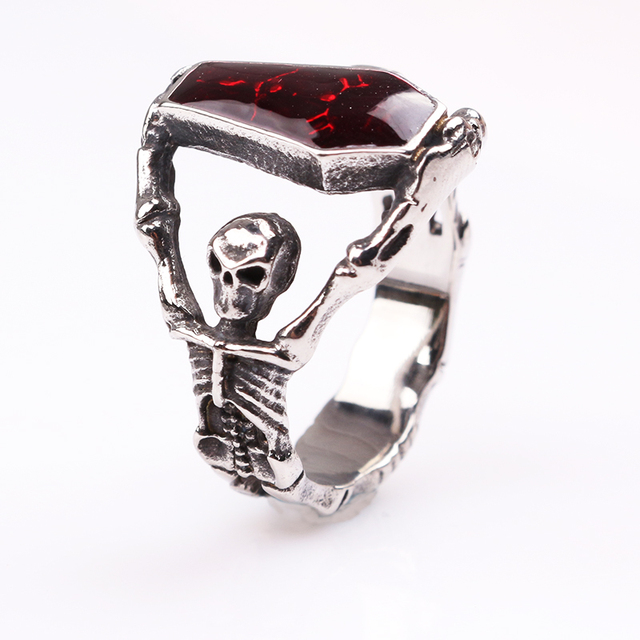 Personalized The Vampire Diaries Red Crystal Coffin Skull Ring Special Unique Rings For Party Wedding Bands