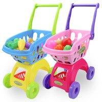 Kids Kitchen Toys Pretend Play Set Shopping Cart Fake Food Cutting Fruit Vegetable for Children Gift Dollhouse Kitchen 25Pcs Set