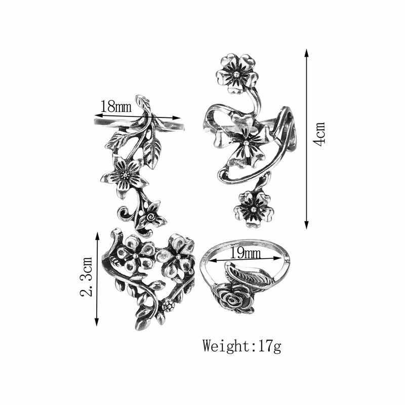 עתיק רטרו כסף צבע הולו פרח עלה 4 יחידות Midi טבעות גדול אצבע Knuckle טבעות סט Boho תכשיטים תורכי