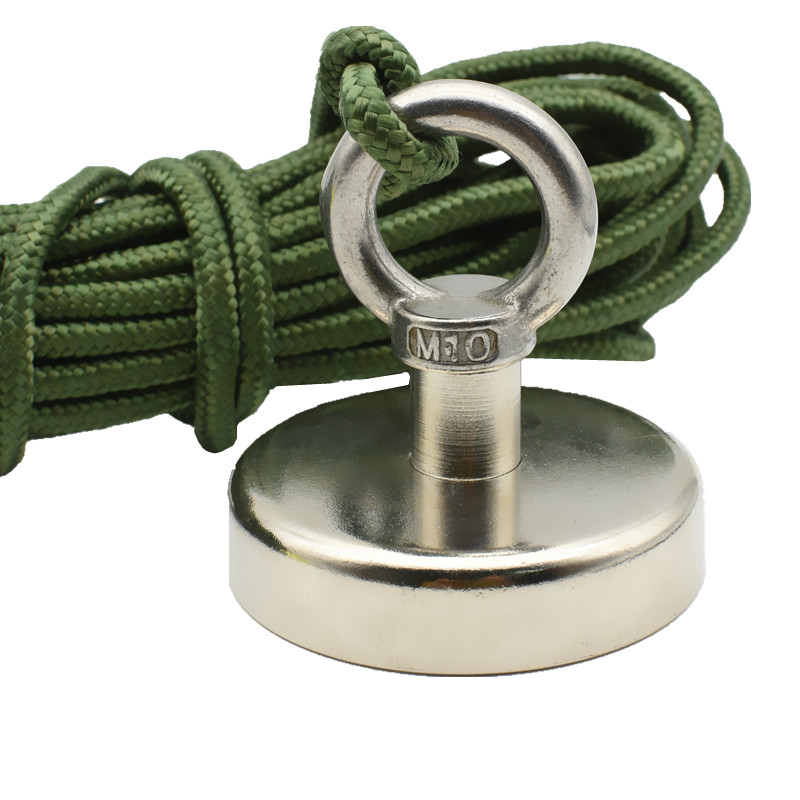 Angeln Magnete Dia. 48 60 75mm Hebe Neodym Magnet mit Nylon Seil 60-150 kg Ziehen Tiefe Meer Salvage Werkzeuge Dropshipping