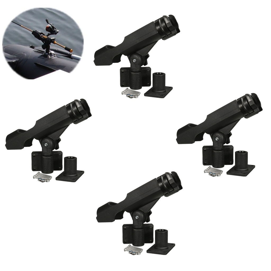 4 Pieces Kayak Boat Fishing Rod Holder Side/Rail/Flush Mount Pole Rest Rack for Rowing Boat Replacement magideal marine canoe kayak boat fishing pp 3 pole rod holder tube mount bracket rack pliers storage for water rowing boat acce