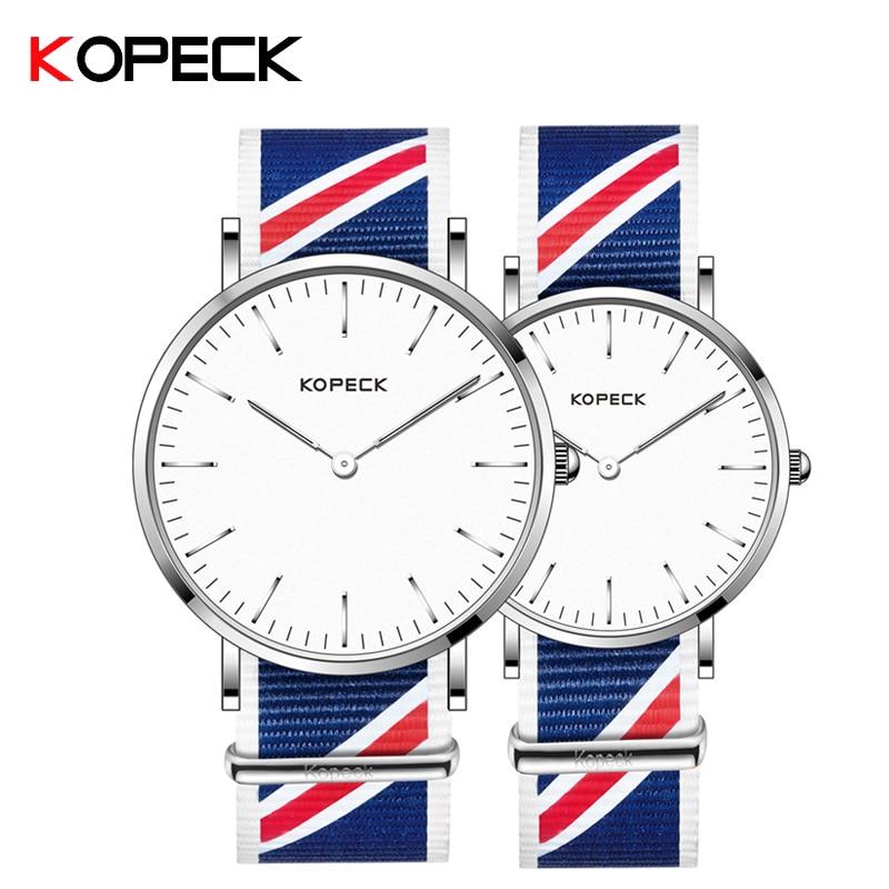 KOPECK Watches Waterproof Casual Nylon Strap Quartz Watches Unisex Sport Wristwatch Simple Fashion Clock Lover's Couple Watch
