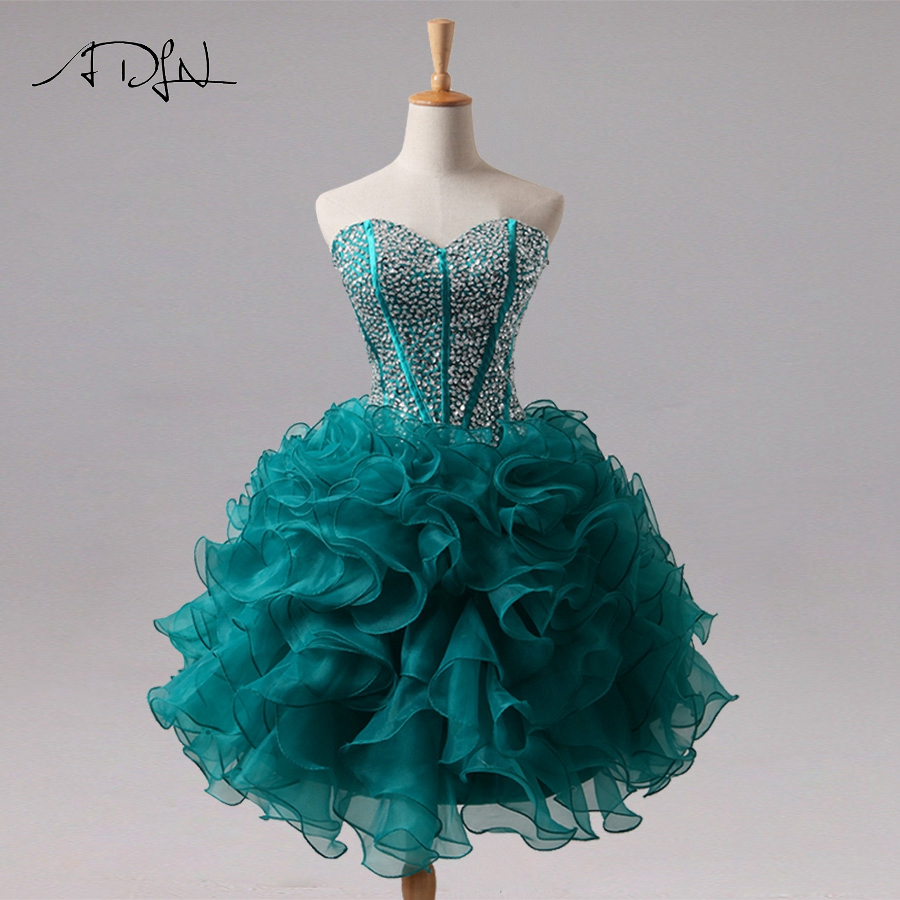 ADLN Custom   Cocktail     Dresses   Sweetheart Organza Ruffles   Cocktail   Party   Dress   Homecoming Gowns