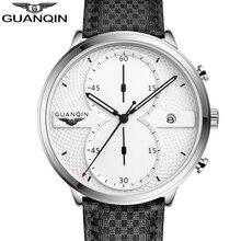 montre homme Mens Watches GUANQIN Men Military Sport Luminous Wristwatch Leather Quartz Watch relogio masculino