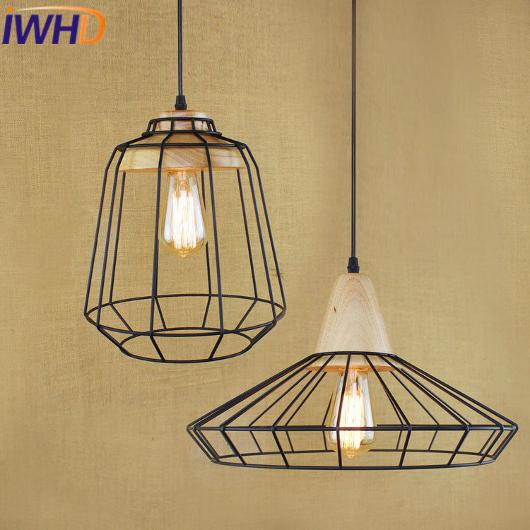 IWHD LED Pendant Lamp Iron Vintage Lamp Bedroom Dining Wood Loft Industrial Hanging Lights Black Kitchen Suspension Luminaire iwhd iron loft style vintage pendant lights retro industrial lamp black cage hanging lamp kitchen wicker luminaire suspendu