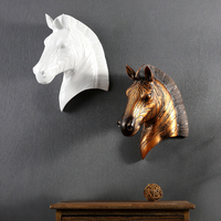 Retro Horse 3D Head Creative Resin Animal Head Horse Wall Decoration Wall Hanging Ornaments Christmas Decor Best Gift The statue