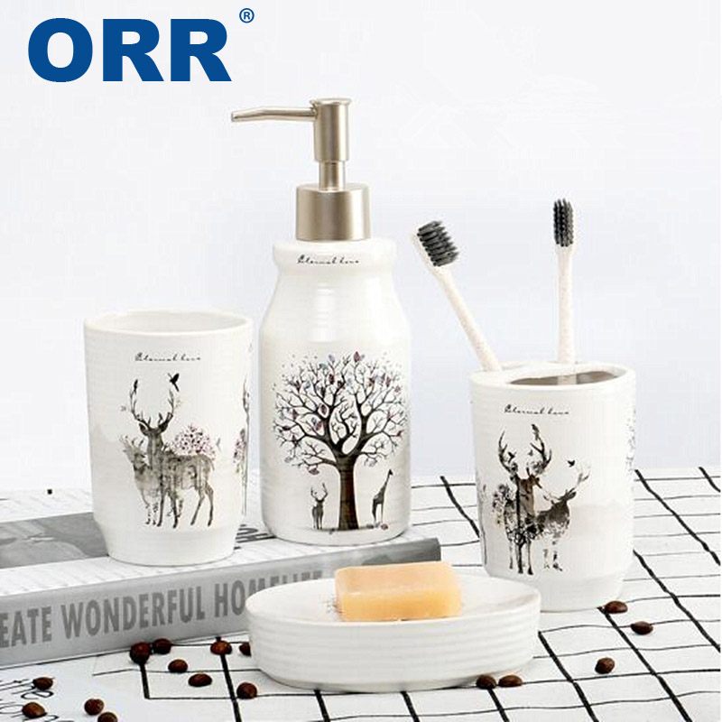 Salle de bains en céramique 4 pcs accessoires savon distributeur brosse à dents tasse Livraison gratuite ORR