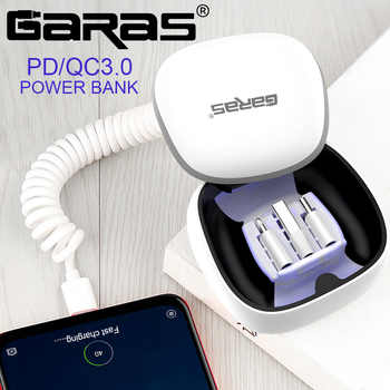 GARAS Power Bank PD/QC3.0 for iPhone/Micro USB/USB C mini Powerbank Fast Charger For xiaomi/huawei Type C To Type C Spring Cable - DISCOUNT ITEM  55% OFF All Category