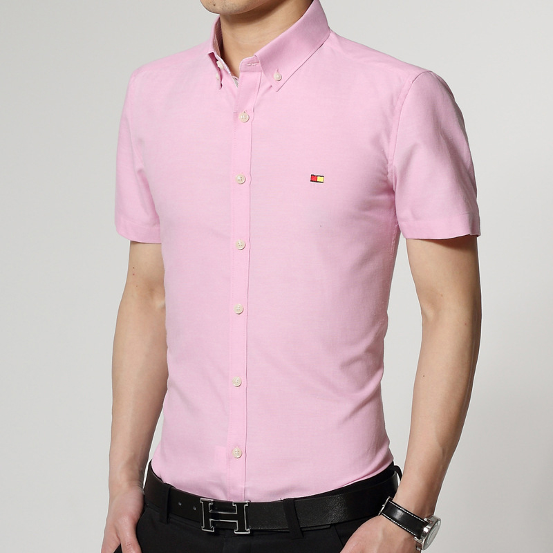 men slim oxford short sleeve printed summer turn down