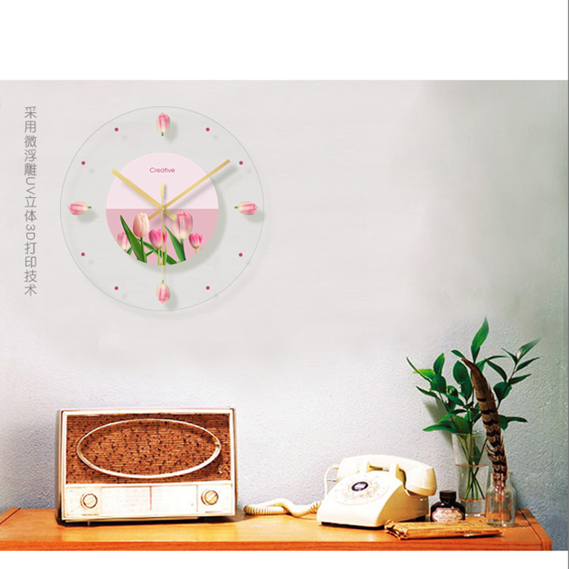 Green plant flower decoration wall hanging room clock (12)