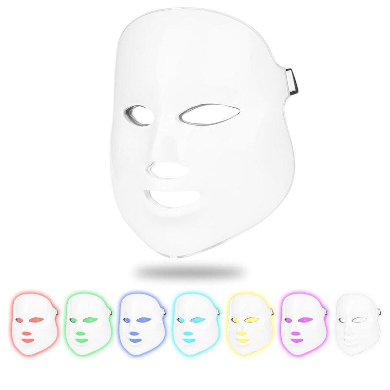 Skin Photon LED Facial Mask Wrinkle Removal Mask 7 Color Light Treatment Skin Whitening Rejuvenation Facial
