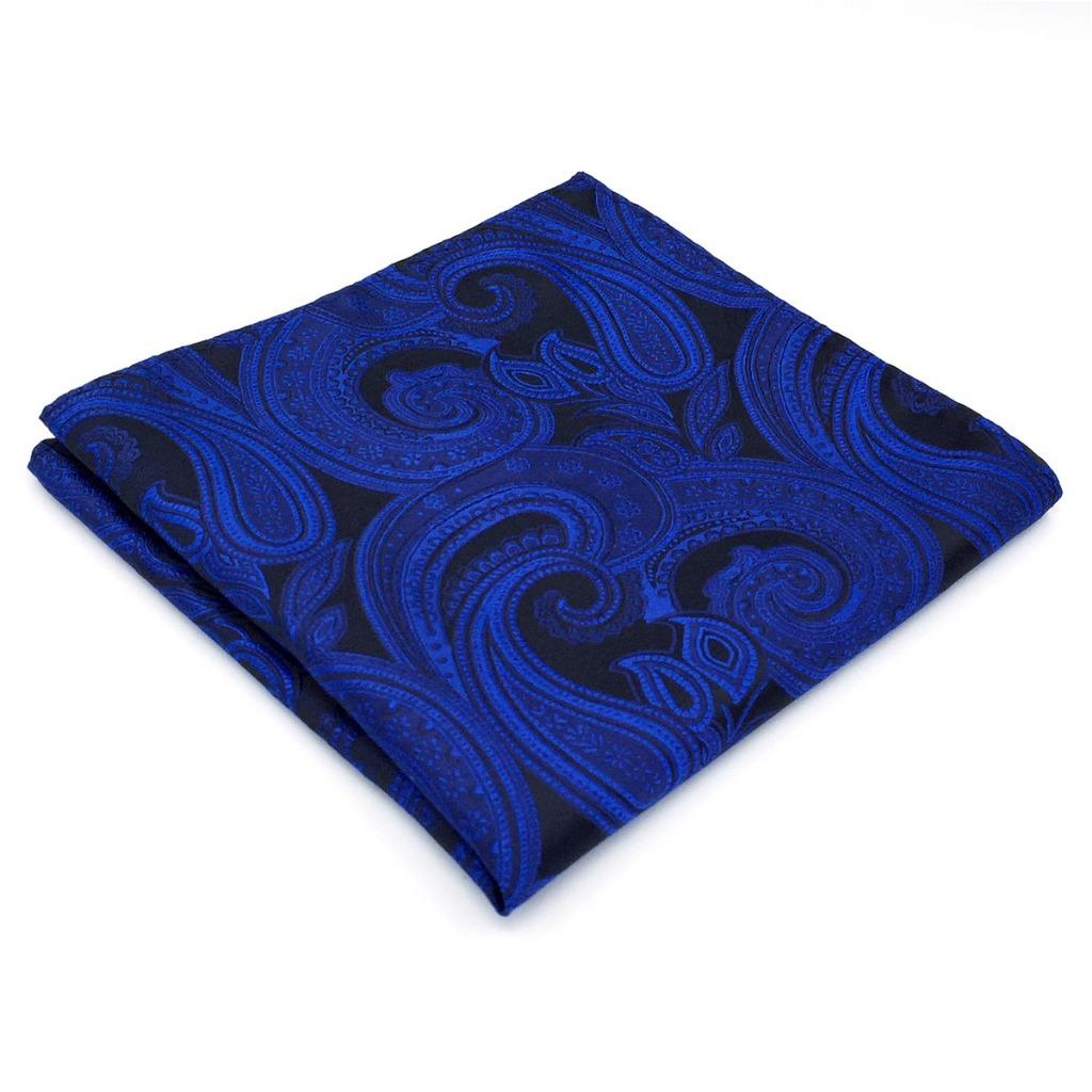 BH07 Classic Mens Pocket Square Navy Blue Paisley Silk Fashion Novelty Handkerchiefs 12.6