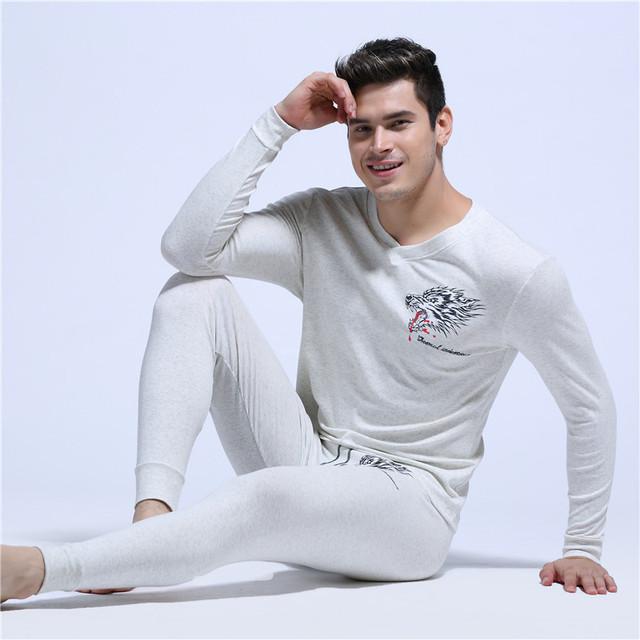 Moda masculina pijamas set Sexy pijama Lazer pijamas de algodão casa térmico roupas 1 conjunto sono masculino