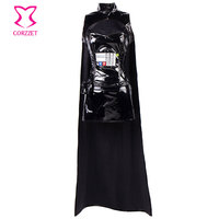 Black PVC Leather Top and Skirt With Cloak Waist Bag Warrior Outfits Cosplay Star Wars Costume Sexy Halloween Costumes For Women