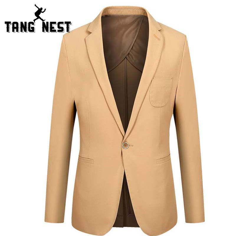 TANGNEST Spring Autumn Casual Men Blazer Hot Sale Slim Business Blazer Men Comfortable Single Breasted Solid Color Blazer MWX375