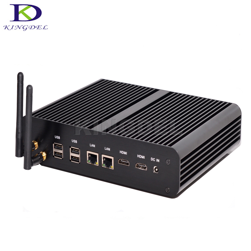 2017 High Speed Mini PC Fanless Desktop PC Core i7 5500U Dual Core,Intel HD Graphics 5500,2*LAN,2* HDMI,USB3.0,SD Card Port,Wifi image
