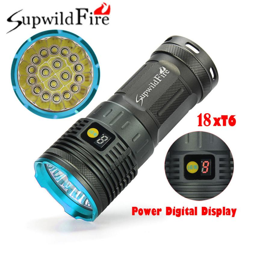 Supwildfire 18 x XM-L T6 LED Power Digital Display Hunting Flashligt Torch Lamp MTB Bike Bicycle Cycling Camping White Light PF5 super bright bike bicycle light supwildfire 50000lm 15 x xm l t6 led power