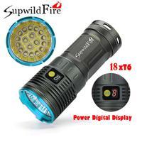 Supwildfire 18 x XM L T6 LED Power Digital Display Hunting Flashligt Torch Lamp MTB Bike Bicycle Cycling Camping White Light PF5