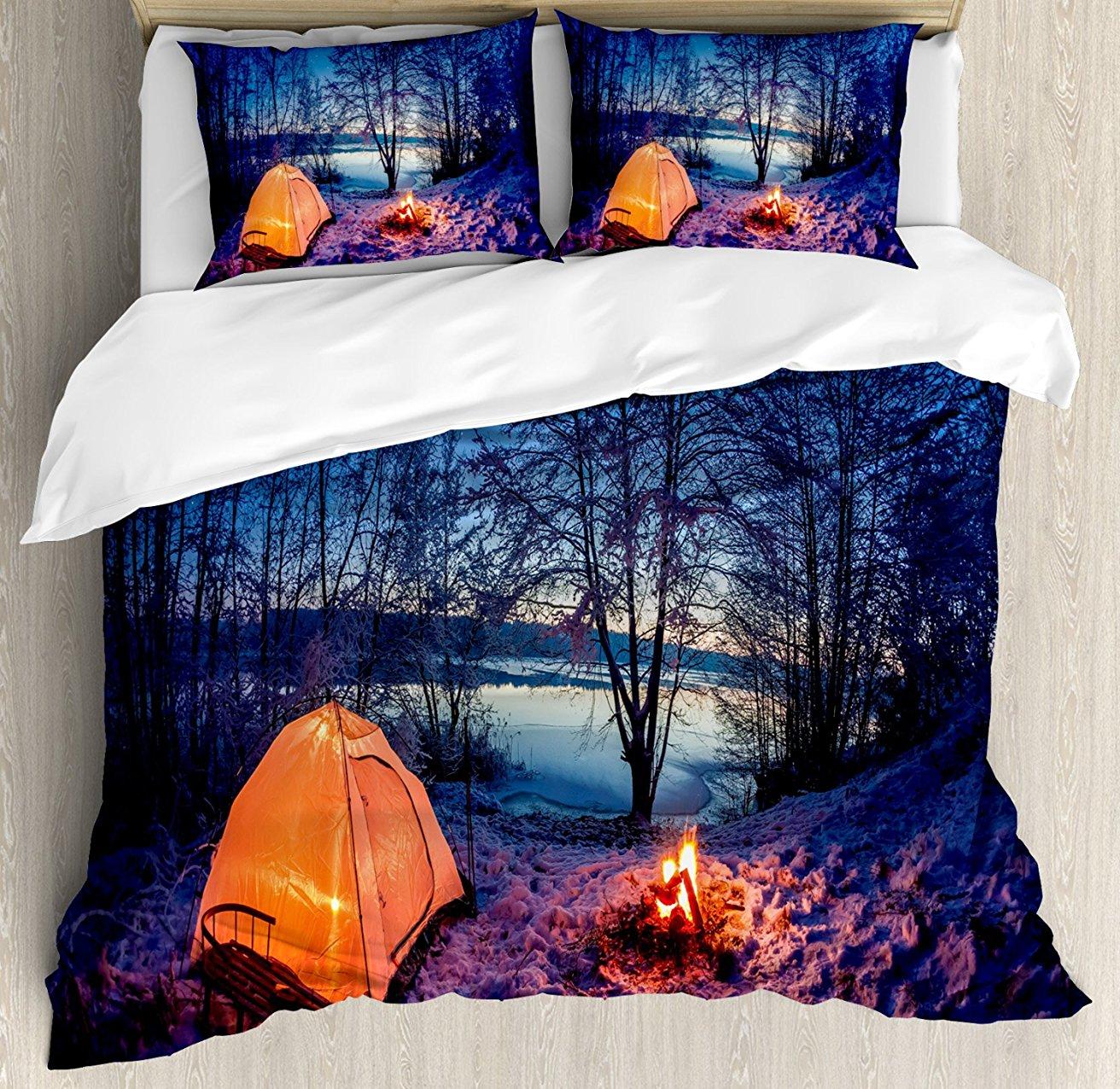 Forêt housse de couette ensemble nuit sombre Camping tente Photo en hiver sur les terres enneigées au bord du lac ensemble de literie 4 pièces