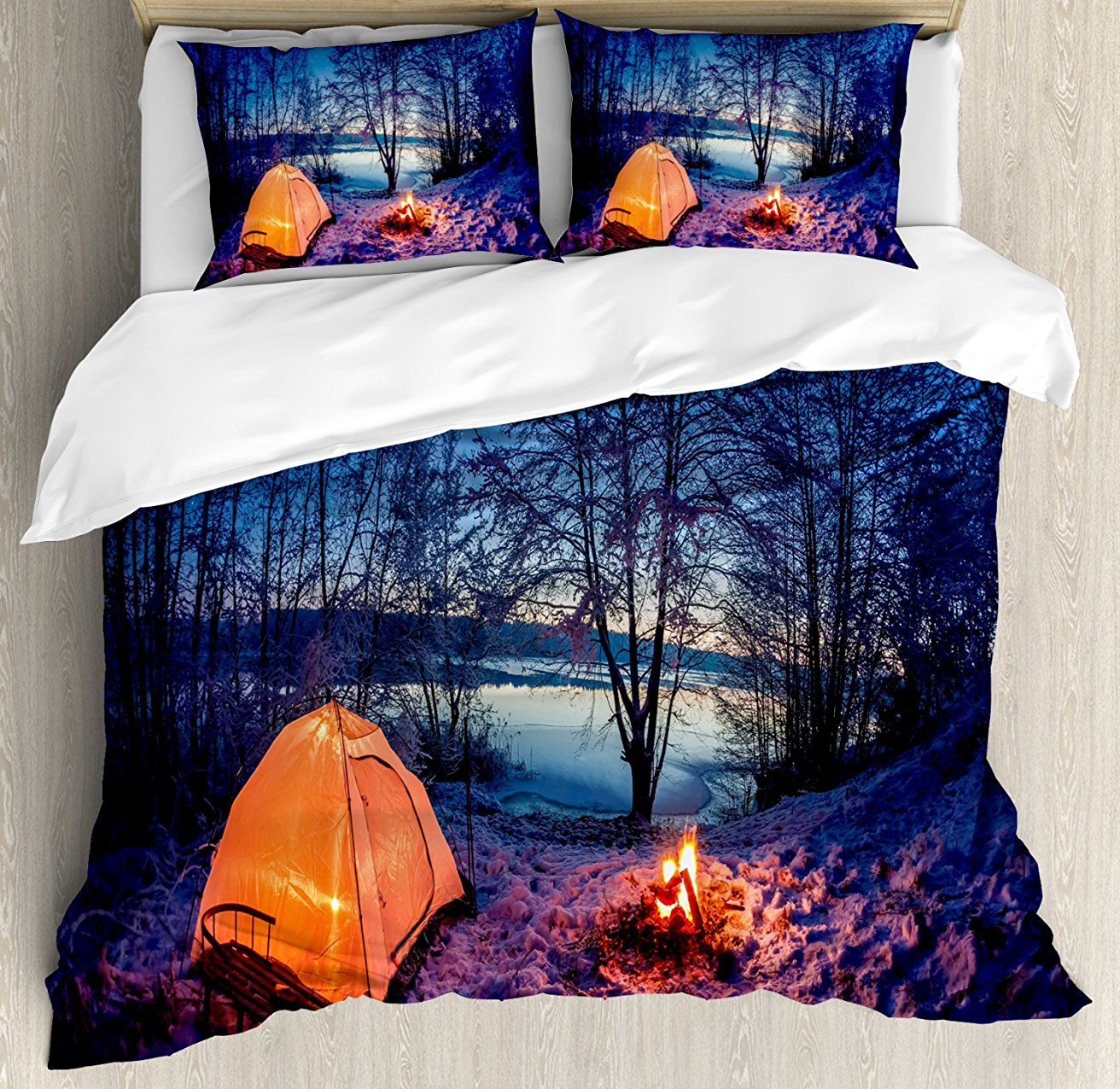 Forest Duvet Cover Set Dark Night Camping Tent Photo in the Winter on the Snow Covered Lands by the Lake 4 Piece Bedding Set