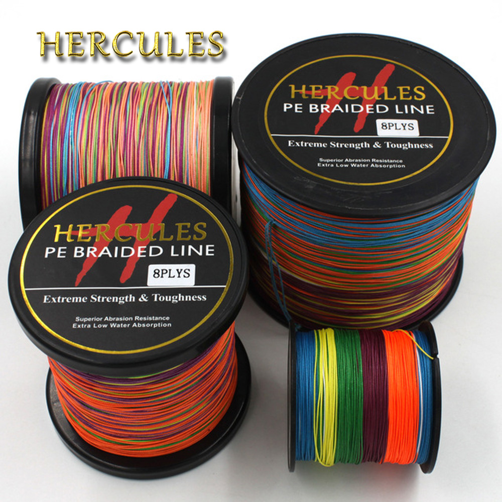 Multicolor 8 Strands 100M 300M 500M 1000M 1500M 2000M PE Braid Fishing Line Sea Saltwater Fishing Weave 100% SuperPower Hercules