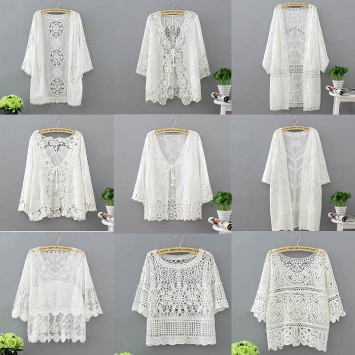 Women Clothing Long Sleeve Lace Shawl Shrug Bolero Jacket Beach Shirts Hollow Cape Elegant Tops Wedding Bridal Summer Jacket