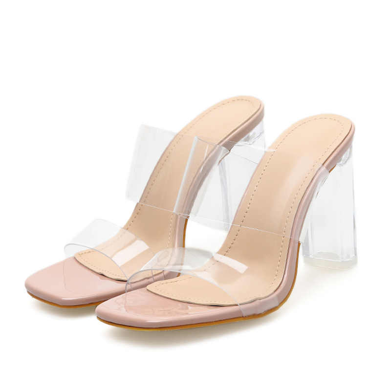 2019 Plus Size 42 Women 10cm High Heels Slides Transparent Mules Lady Fetish Sandals Chunky Nude Clear Block Heels Summer Shoes