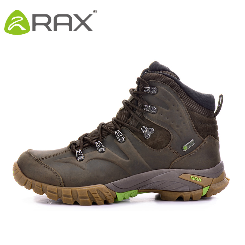 Фото RAX 2018 Mens Waterproof Hiking Boots Genuine Leather Hiking Shoes Breathable Boots Men Mountain Boots Waterproof Trekking Shoes
