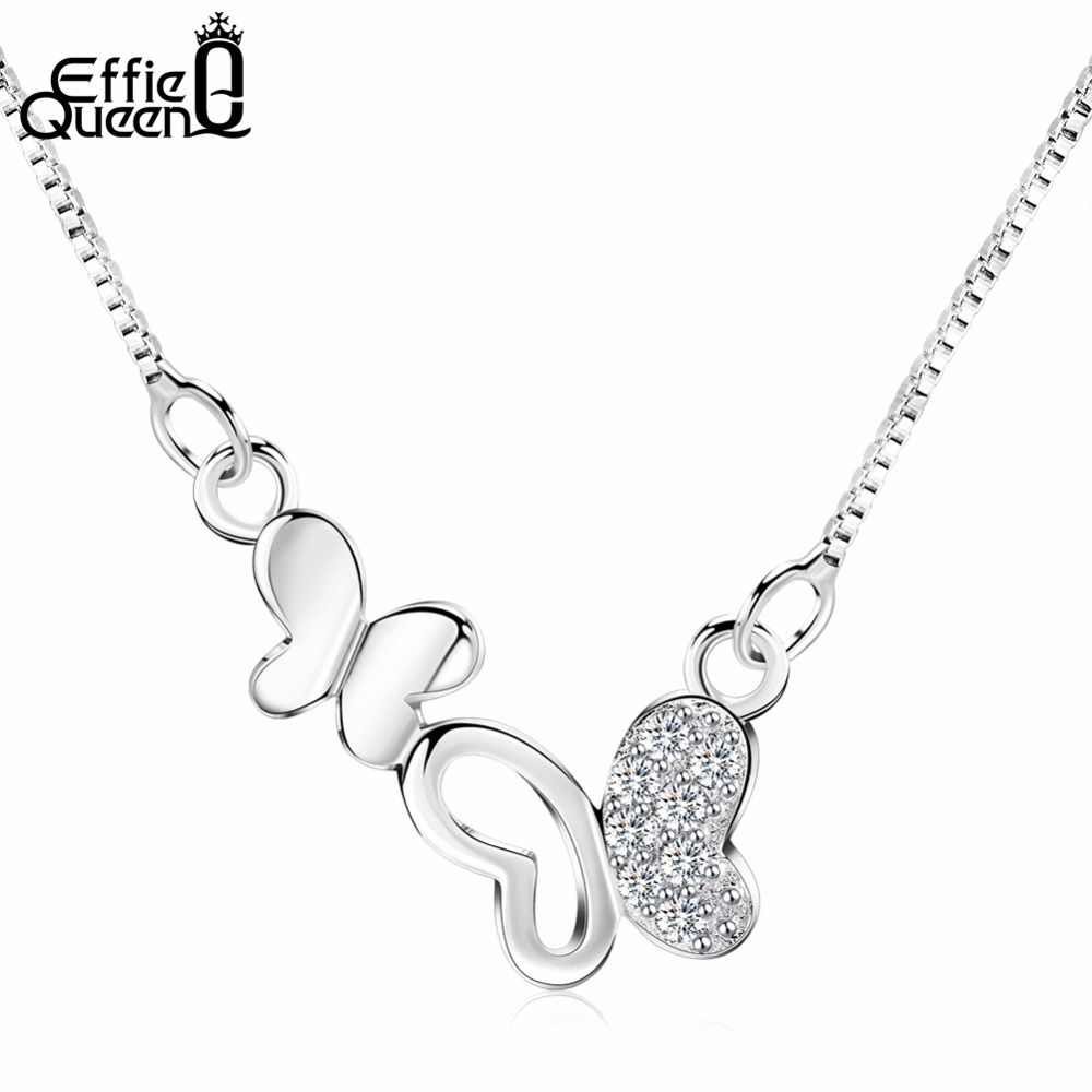 Effie Queen Trendy Girls Crystal Pendants Necklaces Fashion Jewelry Cubic Zircon Paved Butterfly Necklace For Women Gift WN62