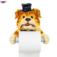 European Style Simulation Animal Housekeeper Dog Resin Tissue Holder Toilet Wall Art Decorations Roll Paper Holder X900
