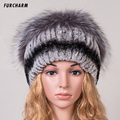 Rex Rabbit Fur Hat Women Winter Real Fur Caps With Pom Pom Silver Fox Fur Balls Hats Russian Ushanka Cap Hat Beanies For Women