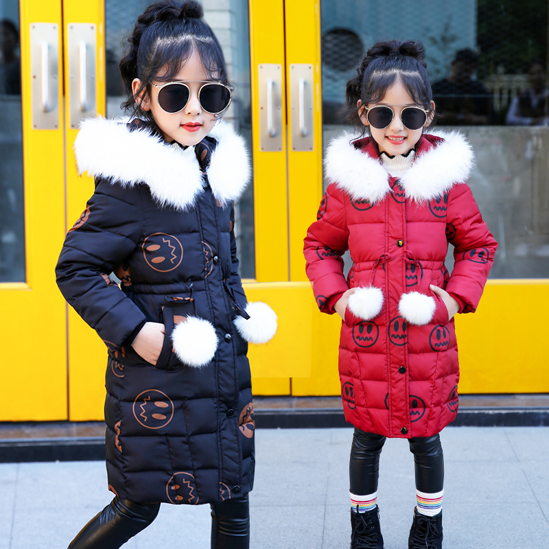 2018 New Fashion Girl Winter Jacket Long Children Korean Coat Kids Thick Fur Collar Hooded Coats Cotton Teenage Girls Parka JL13 2017 new fashion boys winter jacket cotton coat children parka detachable faux fur hooded collar long style army green red black
