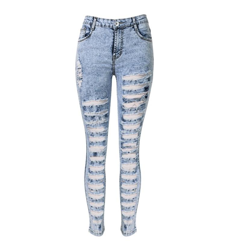 Women High Waist Acid Wash Ripped Stretch Skinny Jeans