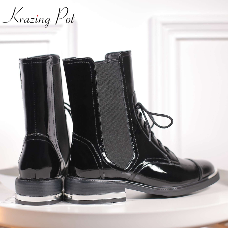 Krazing Pot patent genuine leather metal fasteners med heels round toe bigger size lace up career Chelsea work ankle boots L0f2 krazing pot genuine leather 2018 round toe high heels metal fasteners motorcycle boots mature women round buckle ankle boots l26