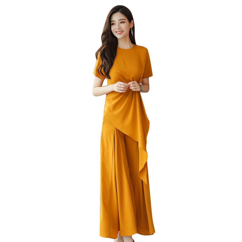 New summer dress solid color casual wide leg pants suit women's fashion irregular nine points skirt pants two sets of women's